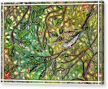 Bird Hiding Among The Green Canvas Print by M E Wood
