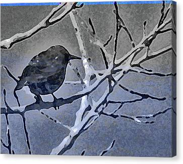 Bird In Digital Blue Canvas Print by Lenore Senior