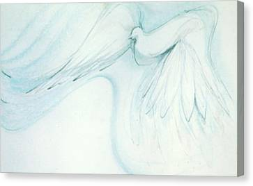 Canvas Print featuring the drawing Bird In Flight by Denise Fulmer