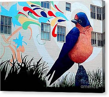 San Francisco Blue Bird Painting Mural In California Canvas Print