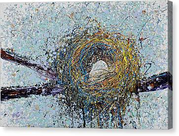 Bird Nest Painting Canvas Print by Michael Glass