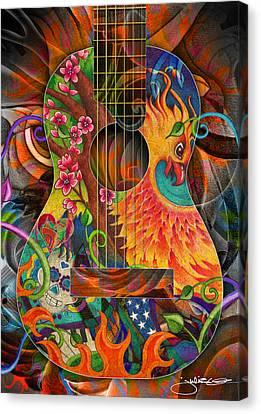 Bird Of Fire Guitar Canvas Print by Julie Oakes