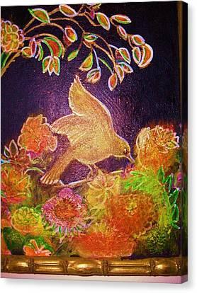Bird On Flowers On A  Glorious Night Canvas Print by Anne-Elizabeth Whiteway