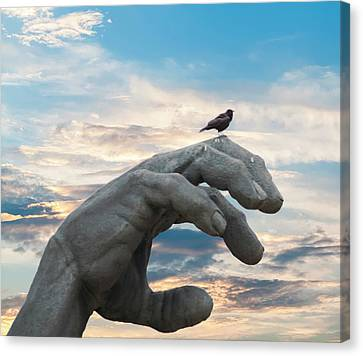Bird On Hand Canvas Print
