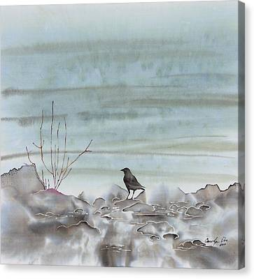 Bird On The Shore Canvas Print by Carolyn Doe