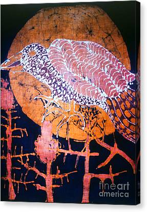 Bird On Thistle At Sundown Canvas Print by Carol Law Conklin