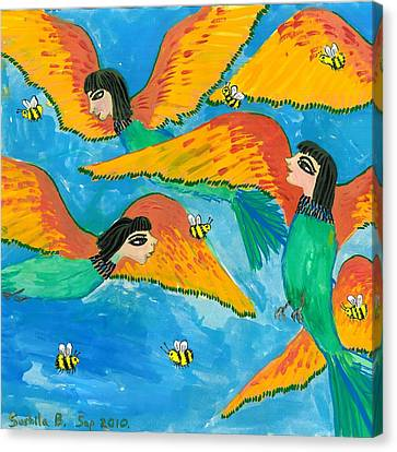 Bird People Bee Eaters For Artweeks Canvas Print by Sushila Burgess