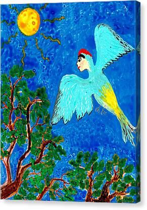 Bird People Green Woodpecker Canvas Print by Sushila Burgess