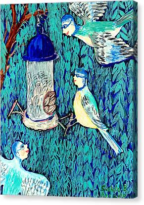 Bird People The Bluetit Family Canvas Print by Sushila Burgess