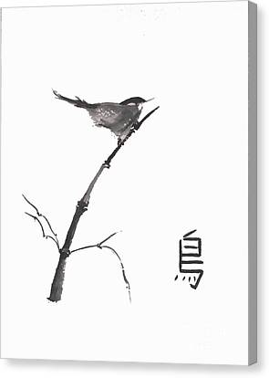Canvas Print featuring the painting Bird by Sibby S