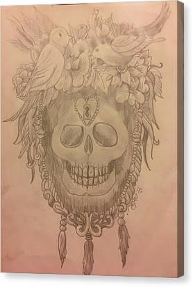 Bird Skull Frame Canvas Print by Megan Reppert