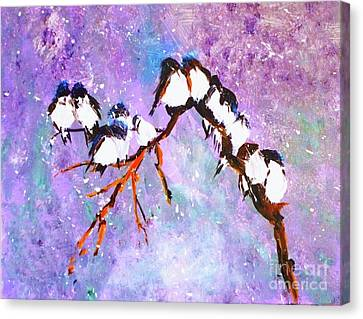 Canvas Print featuring the painting Bird Snowfall Limited Edition Print 1-25 by Donna Dixon