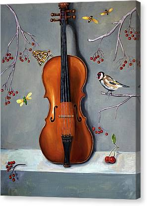 Violin Canvas Print - Bird Song by Leah Saulnier The Painting Maniac