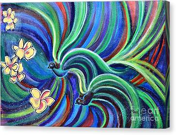 Bird Symphony With Frangipani Canvas Print
