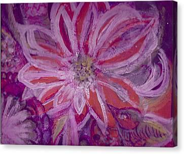 Bird Watching Flower Canvas Print by Anne-Elizabeth Whiteway