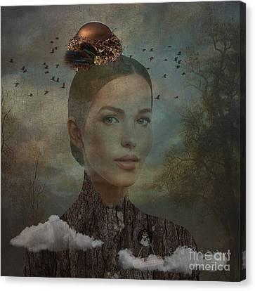 Canvas Print featuring the digital art Birder by Nola Lee Kelsey