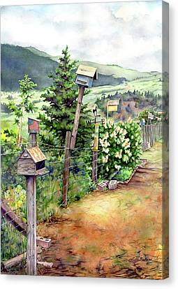 Birdhouse Alley Canvas Print by Leslie Redhead