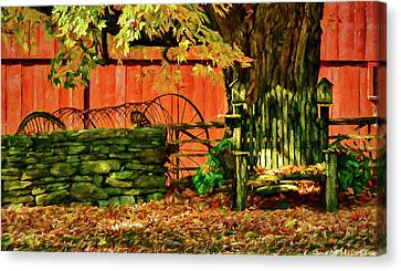 Canvas Print featuring the photograph Birdhouse Chair In Autumn by Jeff Folger