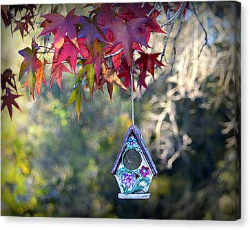 Canvas Print featuring the photograph Birdhouse Under The Autumn Leaves by AJ Schibig