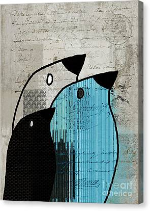 Birdies - J693b2 Canvas Print by Variance Collections
