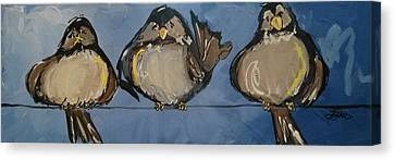 Birdies On A Wire Canvas Print by Terri Einer