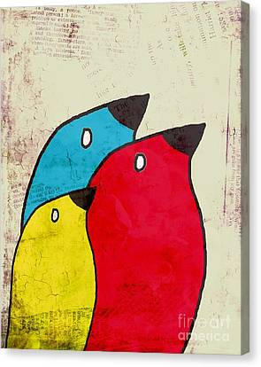 Birdies - V01s1t Canvas Print by Variance Collections