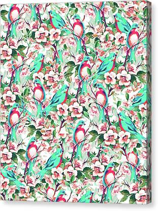 Birds And Flowers Canvas Print by Uma Gokhale