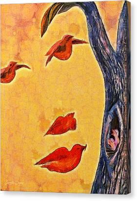 Spoonbill Canvas Print - Birds And Tree - Da by Leonardo Digenio