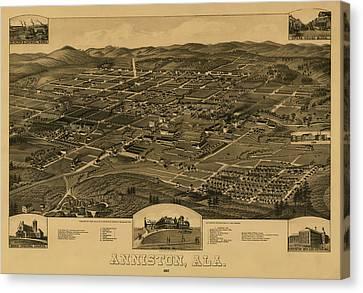 Bird's Eye View Of Anniston Alabama 1887 Canvas Print