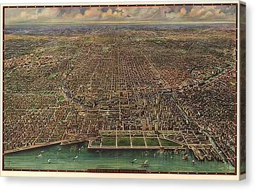 Birds Eye View Of Chicago 1916 Canvas Print by Mountain Dreams