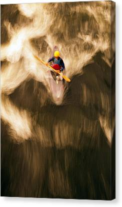 Birds-eye View Of Kayaker Canvas Print