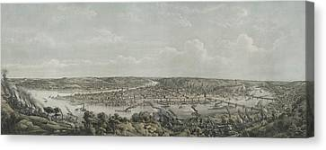 Birds-eye View Of Pittsburgh Canvas Print by Everett
