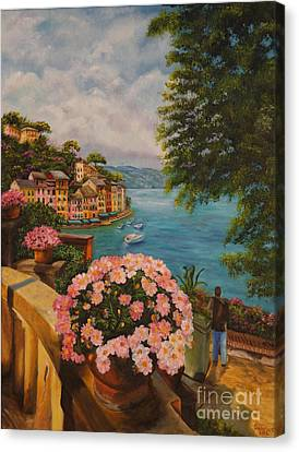 Portofino Italy Canvas Print - Bird's Eye View Of Portofino by Charlotte Blanchard