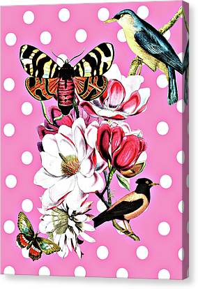 Birds, Flowers Butterflies And Polka Dots Canvas Print