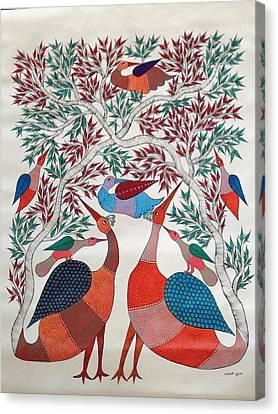 Gond Canvas Print - Birds In Nature by Chrandrakali Pusham
