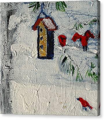 Birds In Snow Canvas Print by Angela Annas
