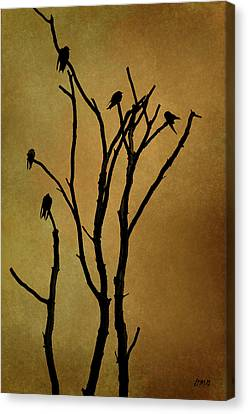 Birds In Tree Canvas Print by Dave Gordon