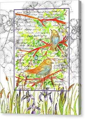 Canvas Print featuring the painting Bluebirds Nature Collage by Cathie Richardson