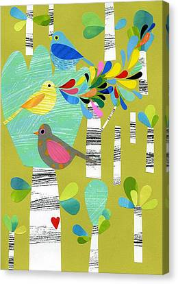 Foliage Canvas Print - Birds Of The Forest by Anne Vasko