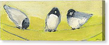 Wire Canvas Print - Birds On A Wire by Jennifer Lommers