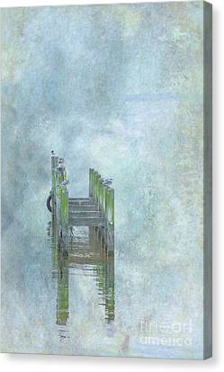 Birds On Abandoned Dock Canvas Print by Randy Steele