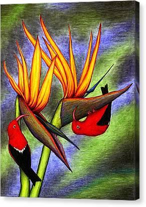 Birds On Birds Canvas Print
