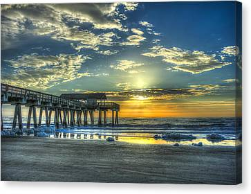 Birds On The Roof Sunrise Tybee Island Canvas Print by Reid Callaway