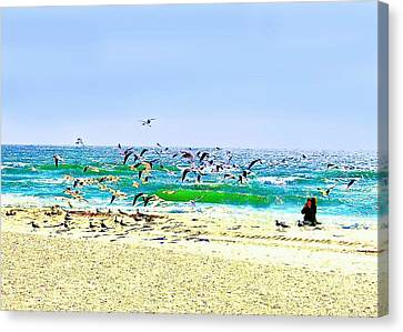Canvas Print featuring the photograph Birds Taking Off by Ellen O'Reilly
