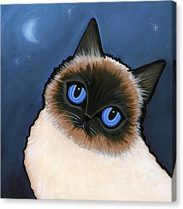 Birman Blue Night Canvas Print by Leanne Wilkes
