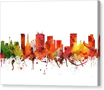 Birmingham Cityscape 04 Canvas Print by Aged Pixel