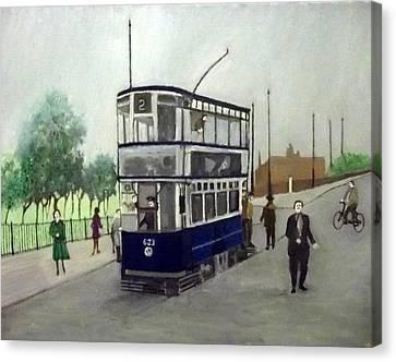Birmingham Tram With Figures Canvas Print