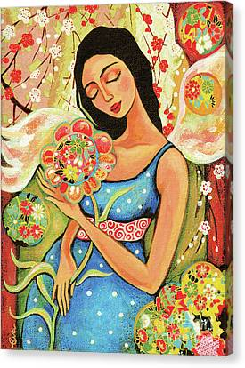 Canvas Print featuring the painting Birth Flower by Eva Campbell