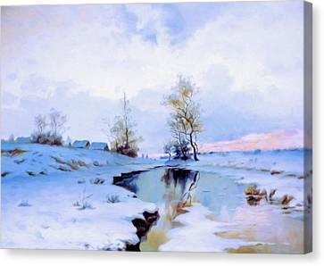 Birth Of Spring In The Snow Canvas Print by Georgiana Romanovna