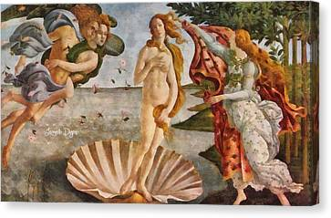 Birth Of Venus By Sandro Botticelli Revisited Canvas Print by Leonardo Digenio